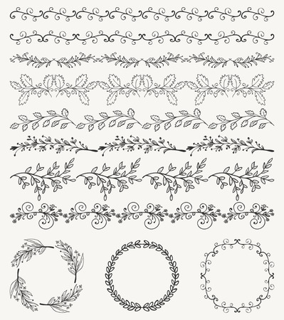 christmas scroll: Collection of Black Artistic Seamless Hand Sketched Decorative Doodle Vintage Borders and Frames. Design Elements. Hand Drawn Vector Illustration. Pattern Brashes