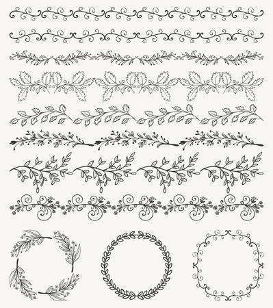lijntekening: Het verzamelen van Black Artistieke Naadloze hand getekende decoratieve Doodle Vintage Borders and Frames. Design Elements. Hand Getrokken Vector Illustratie. Patroon Brashes Stock Illustratie