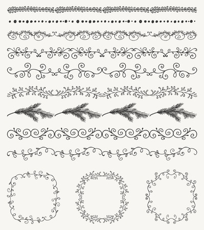 Collection of Black Artistic Seamless Hand Sketched Decorative Doodle Vintage Borders and Frames. Design Elements. Hand Drawn Vector Illustration. Pattern Brashes