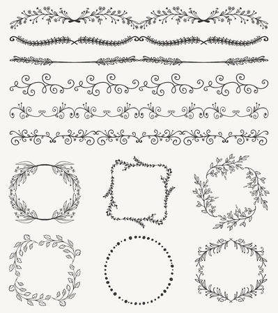 brashes: Collection of Black Artistic Seamless Hand Sketched Decorative Doodle Vintage Borders and Frames. Design Elements. Hand Drawn Vector Illustration. Pattern Brashes
