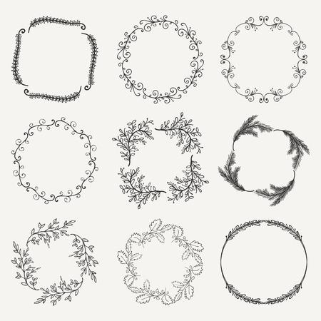 brashes: Collection of Black Artistic Hand Sketched Floral  Decorative Doodle Borders, Frames, Wreaths. Design Elements. Hand Drawn Vector Illustration. Pattern Brashes Illustration