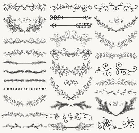 손으로 그린 블랙 낙서 디자인 요소의 집합입니다. 장식 꽃 디바이더, 화살표, 소용돌이, 월계수 및 지점. 빈티지 벡터 일러스트 레이 션. 패턴 Brash 일러스트