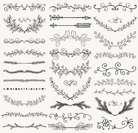 dividers: Set of Hand Drawn Black Doodle Design Elements. Decorative Floral Dividers, Arrows, Swirls, Laurels and Branches. Vintage Vector Illustration. Pattern Brashes