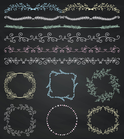 Collection of Chalk Drawing Artistic Hand Sketched Decorative Doodle Vintage Seamless Borders. Frames, Wreaths, Branches, Dividers. Design Elements. Hand Drawn Vector Illustration. Chalkboard Texture. Pattern Brushes Illustration