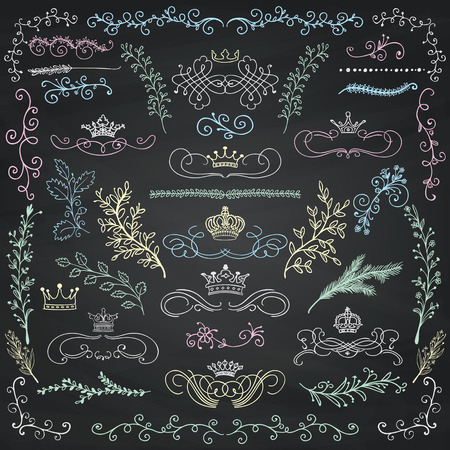 ornamental scroll: Chalk Drawing Artistic Colorful Doodle Design Elements. Decorative Floral Crowns, Dividers, Branches, Swirls, Wreaths. Vintage Hand Sketched Vector Illustration. Chalkboard Texture. Pattern Brushes Illustration