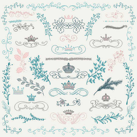 Hand Drawn Artistic Colorful Doodle Design Elements. Decorative Floral Crowns, Dividers, Branches, Swirls, Wreaths. Vintage Hand Sketched Vector Illustration. Pattern Brushes