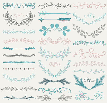 Set of Hand Drawn Color Doodle Design Elements. Decorative Floral Dividers, Arrows, Swirls, Laurels and Branches. Vintage Vector Illustration. Pattern Brushes