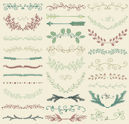 Set of Hand Drawn Color Doodle Design Elements. Decorative Floral Dividers, Arrows, Swirls, Laurels and Branches. Vintage Vector Illustration. Pattern Brushes