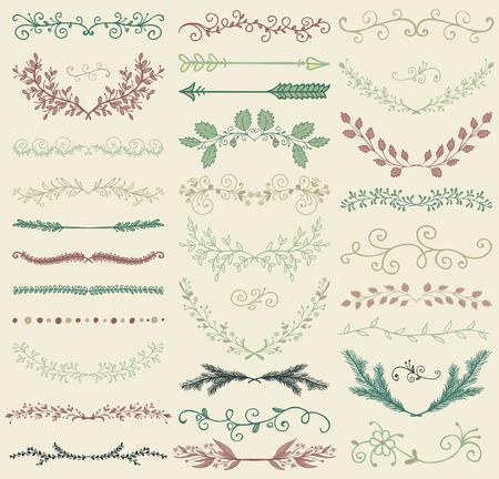 Set van Hand Drawn Color Doodle ontwerpelementen. Decoratieve Bloemen Verdelers, pijlen, wervelingen, lauweren en takken. Vintage vector illustratie. patroon Borstels