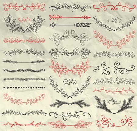 coronas de navidad: Conjunto de mano bosquejó Doodle Elementos de diseño. Decorativos florales divisores, Flechas, remolinos, Laureles y ramas en la textura de papel arrugado. Ilustración de la pluma de dibujo vectorial de la vendimia. Cepillos Pattern Vectores