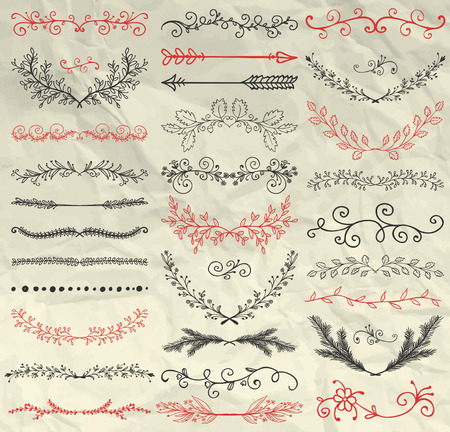 Set of Hand Sketched Doodle Design Elements. Decorative Floral Dividers, Arrows, Swirls, Laurels and Branches on Crumpled Paper Texture. Pen Drawing Vintage Vector Illustration. Pattern Brushes