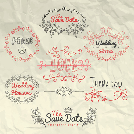 typographies: Sketched Design Elements on Crumpled Background Texture. Hand Drawn Decorative Artistic Doodle Typography, Branches, Labels for valentines card, Save the Date or Wedding card. Vector Illustration. Illustration