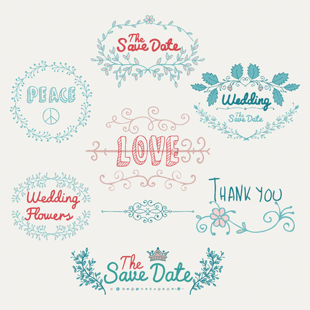 typographies: Colorful Hand Sketched Romantic Design Elements. Hand Drawn Decorative Artistic Doodle Typography, Branches, Labels, Dividers for valentines card, Save the Date or Wedding card. Vector Illustration.