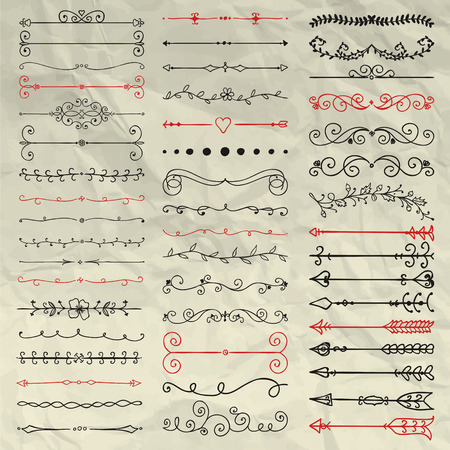 Set of Hand Sketched Doodle Design Elements. Decorative Floral Dividers, Arrows, Swirls, Scrolls and Branches on Crumpled Paper Texture. Pen Drawing Vintage Vector Illustration. Pattern Brushes