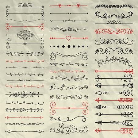 Set van hand getekende Doodle ontwerpelementen. Decoratieve Bloemen Verdelers, pijlen, wervelingen, rollen en takken op verfrommeld papier textuur. Pentekening Vintage Vector Illustration. patroon Borstels