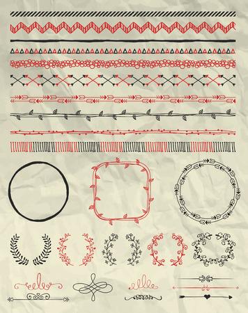 bordes decorativos: Conjunto de mano bosquejó Doodle Seamless Fronteras. Decorativos florales divisores, flechas, los remolinos y ramas en la textura de papel arrugado. Ilustración de la pluma de dibujo vectorial. Cepillos patrón. Elementos de diseño