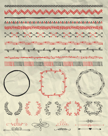 retro christmas: Set of Hand Sketched Doodle Seamless Borders. Decorative Floral Dividers, Arrows, Swirls and Branches on Crumpled Paper Texture. Pen Drawing Vector Illustration. Pattern Brushes. Design Elements