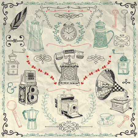 oude krant: Vintage Kleurrijke hand getekende Doodle pictogrammen, objecten en Frames op verfrommeld papier textuur. Elementen van het ontwerp. Vector Illustratie. Camera's, waterkokers, koffie Mills. Pentekening Stock Illustratie