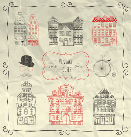 objects paper: Decorative Artistic Hand Sketched Vintage Old Styled Doodle Houses on Crumpled Paper Texture. Design Elements, Objects, Buildings. Pen Drawing. Vector Illustration Illustration