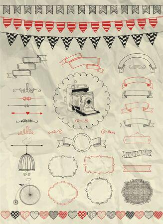 circo: Colecci�n de decorativo art�stico a mano colorido bosquejado Doodle Banners, cintas, marcos y objetos en la textura de papel arrugado. Elementos de dise�o. Dibujo de la pluma. Ilustraci�n del vector de la vendimia. Partido, Banderas Vectores