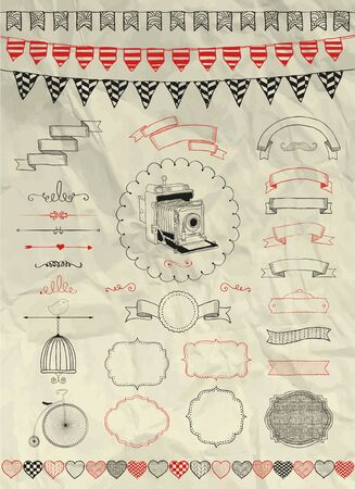 circus bike: Collection of Decorative Artistic Colorful Hand Sketched Doodle Banners, Ribbons, Frames and Objects on Crumpled Paper Texture. Design Elements. Pen Drawing. Vintage Vector Illustration. Party, Flags Illustration