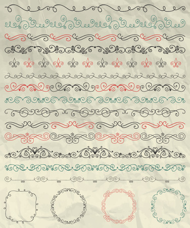 scrunch: Set of Hand Sketched Doodle Design Elements. Artistic Hand Sketched Decorative Doodle Vintage Seamless Borders and Frames on Crumpled Paper Texture. Pen Drawing Vector Illustration. Pattern Brushes