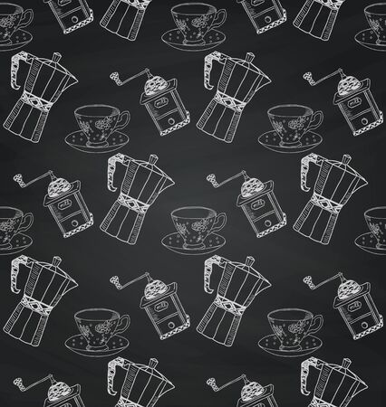 mills: Vintage Seamless Hand Sketched Chalk Drawing Doodle Pattern with Kettles and Coffee Mills. Vector Illustration with Swatches. Board Texture Background.