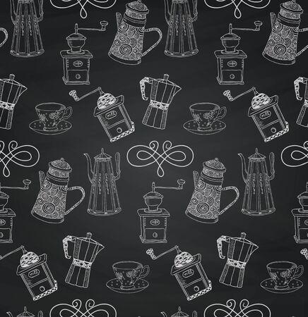 kettles: Modelo inconsútil de la vendimia mano bosquejó Tiza dibujo del Doodle con hervidores de agua y café Mills. Ilustración del vector con las Muestras. Antecedentes Textura de la tarjeta. Vectores