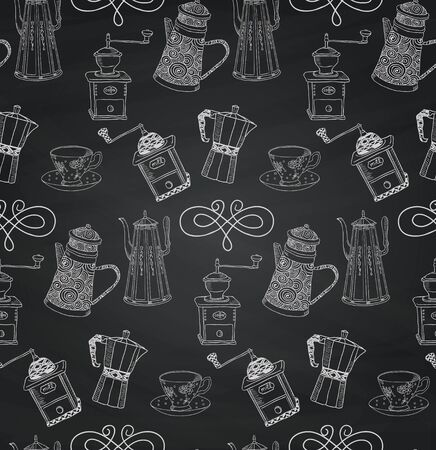background coffee: Vintage Seamless Hand Sketched Chalk Drawing Doodle Pattern with Kettles and Coffee Mills. Vector Illustration with Swatches. Board Texture Background.