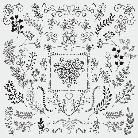 flower border: Vector Black Hand Sketched Rustic Floral Doodle Branches, Design Elements. Decorative Floral Frames, Dividers, Branches, Swirls. Hand Drawing Vector Illustration. Pattern Brushes.