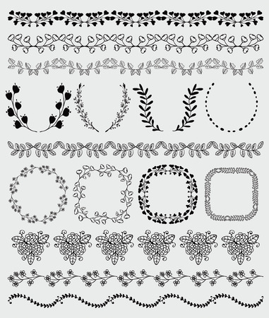 brashes: Collection of Black Seamless Hand Sketched Artistic Rustic  Decorative Doodle Vintage Borders and Frames, Branches and Brackets. Design Elements. Hand Drawn Vector Illustration. Pattern Brashes