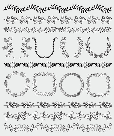 round: Collection of Black Seamless Hand Sketched Artistic Rustic  Decorative Doodle Vintage Borders and Frames, Branches and Brackets. Design Elements. Hand Drawn Vector Illustration. Pattern Brashes