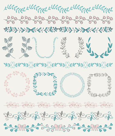 Collection of Colorful Seamless Hand Sketched Artistic Rustic  Decorative Doodle Vintage Borders and Frames, Branches and Brackets. Design Elements. Hand Drawn Vector Illustration. Pattern Brashes Illustration