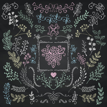 chalks: Vector Chalk Drawing Hand Sketched Rustic Floral Doodle Branches, Design Elements. Decorative Floral Frames, Branches, Swirls. Vector Illustration. Chalkboard Background Texture. Pattern Brushes.