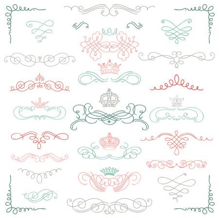 Set of Artistic Colorful Hand Sketched Doodle Rustic Design Elements. Decorative Swirls, Crowns, Scrolls, Text Frames, Dividers. Vintage Vector Illustration. Illustration