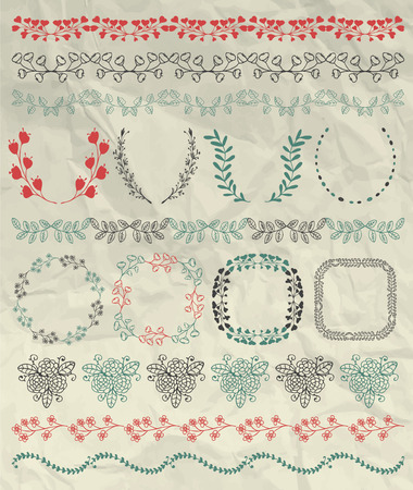 brashes: Set of Seamless Hand Sketched Artistic Rustic Decorative Doodle Borders, Frames, Branches and Brackets on Crumpled Paper Texture. Design Elements. Pen Drawing Vector Illustration. Pattern Brashes.