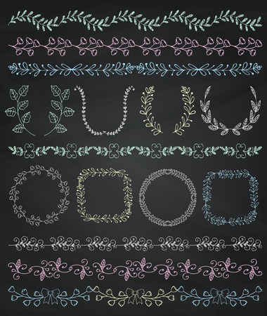chalks: Set of Seamless Hand Sketched Artistic Rustic Decorative Doodle Vintage Borders and Frames, Branches and Brackets. Design Elements.  Chalk Drawing Vector Illustration. Pattern Brashes, Board Texture.