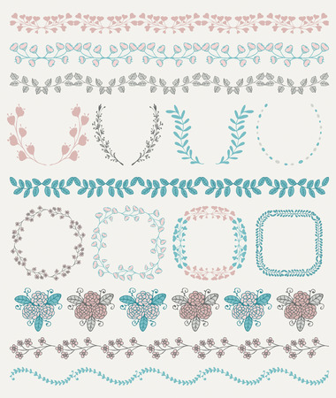 pattern vintage: Collection of Colorful Seamless Hand Sketched Artistic Rustic  Decorative Doodle Vintage Borders and Frames, Branches and Brackets. Design Elements. Hand Drawn Vector Illustration. Pattern Brashes Illustration
