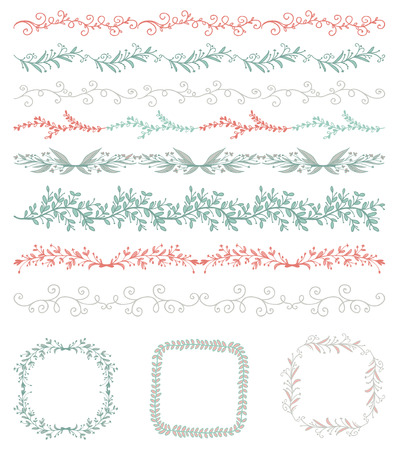 vintage design: Collection of Colorful Seamless Hand Sketched Artistic Rustic  Decorative Doodle Vintage Borders and Frames, Branches and Brackets. Design Elements. Hand Drawn Vector Illustration. Pattern Brashes Illustration