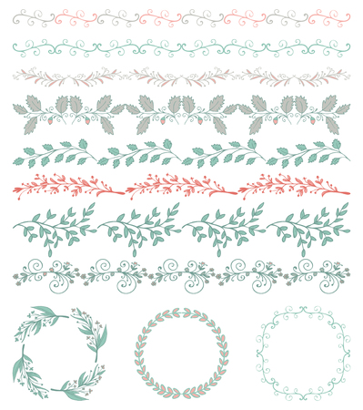 brashes: Collection of Colorful Seamless Hand Sketched Artistic Rustic  Decorative Doodle Vintage Borders and Frames, Branches and Brackets. Design Elements. Hand Drawn Vector Illustration. Pattern Brashes Illustration