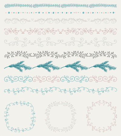 round: Collection of Colorful Seamless Hand Sketched Artistic Rustic  Decorative Doodle Vintage Borders and Frames, Branches and Brackets. Design Elements. Hand Drawn Vector Illustration. Pattern Brashes Illustration