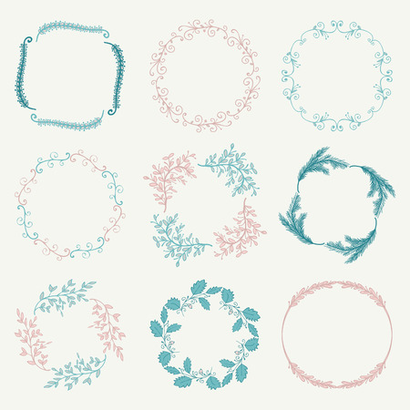 decorative design: Collection of Colorful Artistic Hand Sketched Rustic Floral  Decorative Doodle Borders, Frames, Wreaths. Design Elements. Hand Drawn Vector Illustration. Pattern Brashes Illustration
