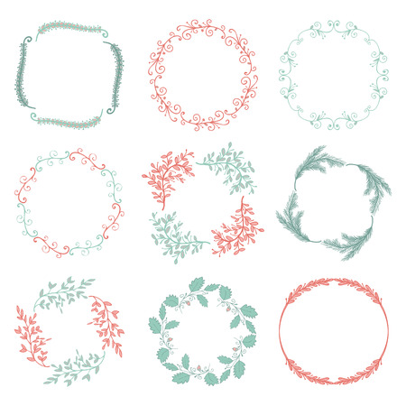 brashes: Collection of Colorful Artistic Hand Sketched Rustic Floral  Decorative Doodle Borders, Frames, Wreaths. Design Elements. Hand Drawn Vector Illustration. Pattern Brashes Illustration
