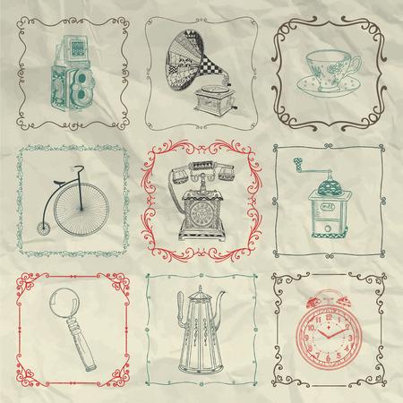 sketched icons: Vintage mano colorido bosquejado Doodle iconos, Objetos y Cap�tulos en la textura de papel arrugado. R�stico elementos de dise�o
