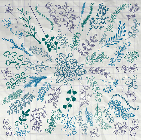 painting art: Pen Drawing Hand Sketched Rustic Floral Doodle Decorative Branches, Swirls, Design Elements