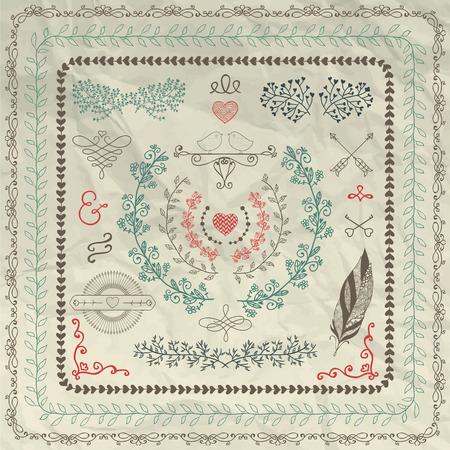 christmas menu: Hand Sketched Doodle Rustic Borders and Design Elements. Decorative Flourish Frames, Wreaths, Laurels, Branches