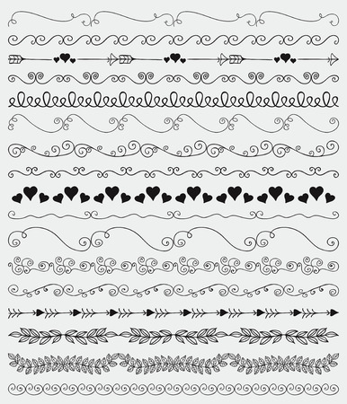 brashes: Collection of Black Hand Sketched Artistic Rustic  Decorative Doodle Vintage Seamless Borders, Swirls, Branches. Design Elements. Hand Drawn Vector Illustration. Pattern Brashes Illustration