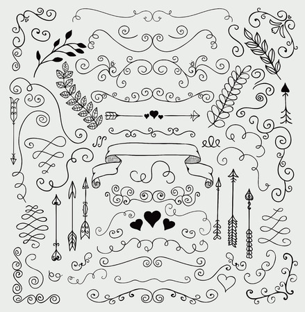 Vector Black Hand Sketched Rustic Floral Doodle Swirls, Branches, Design Elements. Decorative Floral Corners, Dividers, Arrows, Scrolls. Hand Drawing Vector Illustration. Pattern Brushes. Illustration