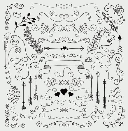 schriftrolle: Vector Black Hand Sketched Rustic Blumengekritzel-Strudel-Niederlassungs-Design-Elemente. Dekorative Blumenecken, Teiler, Arrows, Scrolls. Handzeichnung Vektor-Illustration. Muster Bürsten.