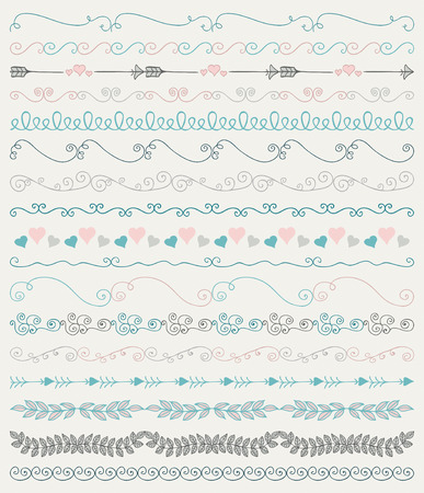 brashes: Collection of Colorful Hand Sketched Artistic Rustic  Decorative Doodle Vintage Seamless Borders, Swirls, Branches. Design Elements. Hand Drawn Vector Illustration. Pattern Brashes